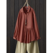 Women Solid Color Cotton Turn Down Collar Button Down Long Sleeve Blouse