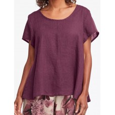 Crew Neck Short Sleeve Solid Cotton Blouse