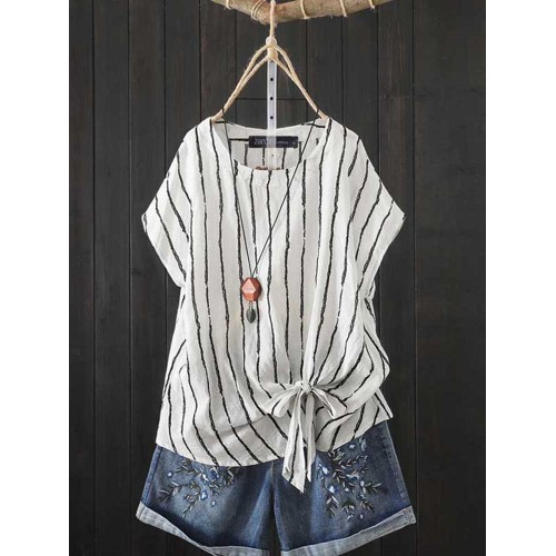 Women Casual Striped Short Sleeve Blouse