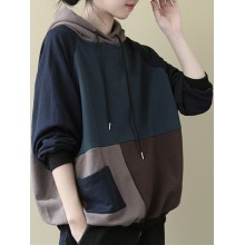 Plus Size Contrast Color Splice Casual Cotton Hooded Sweatshirt with Pockets
