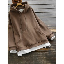 Solid Color Cotton Two Pieces Splice Thicken Hooded Sweatshirt with Pocket