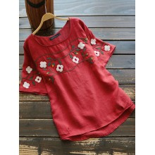 Women Floral Embroidered O-Neck Short Sleeve Blouse