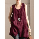 Pure Color O-neck Front Split Sleeveless Tank Tops