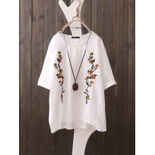 S-5XL Women Short Sleeve O-neck Floral Embroidery Vintage Blouse