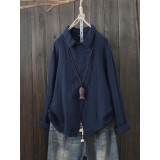 Women Button Cotton Solid Color Turn-Down Collar Long Sleeve Blouse