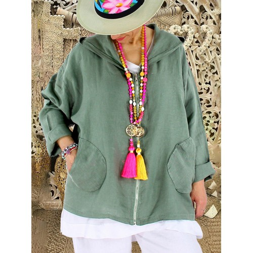 Solid Color Hooded Zipper Sweatshirt with Pockets For Women