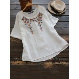 Women Short Sleeve Floral Embroidery High Low Hem Blouse