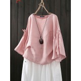 Women Casual Crew Neck Flare Sleeve Solid Blouse