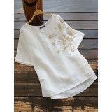 Women Cotton Pure Color Embroidered O-Neck Short Sleeve Blouse