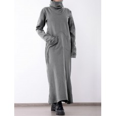 Casual Women Solid Color Turtleneck Long Sleeve Sweater Dress with Pockets