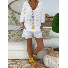 Women Embroidered Hollow Out Pure Color V-Neck 3/4 Sleeve Blouse