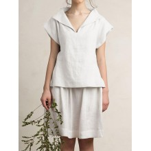 Women Solid Color Turn Down Collar Short Sleeve Blouse