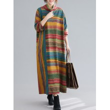 Contrast Color Stripe Print Long Sleeve High Collar Maxi Dress with Pockets