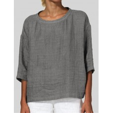 Crew Neck 3/4 Sleeve Solid Color Daily Casual Blouse