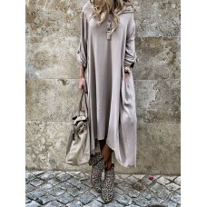 Plus Size Solid Color Button Irregular Hem Hooded Maxi Dress with Pockets