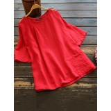 Women Short Sleeve Off Shoulder Solid Casual Blouse